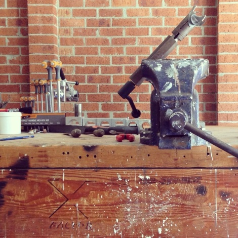 Vice grip and Keith's solid work bench © 2013 Artisan Magazine